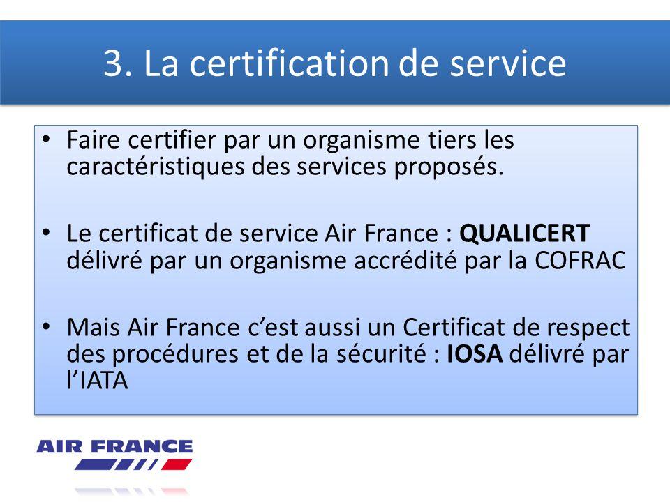 3. La certification de service Faire certifier par un organisme tiers les caractéristiques des services proposés. Le certificat de service Air France
