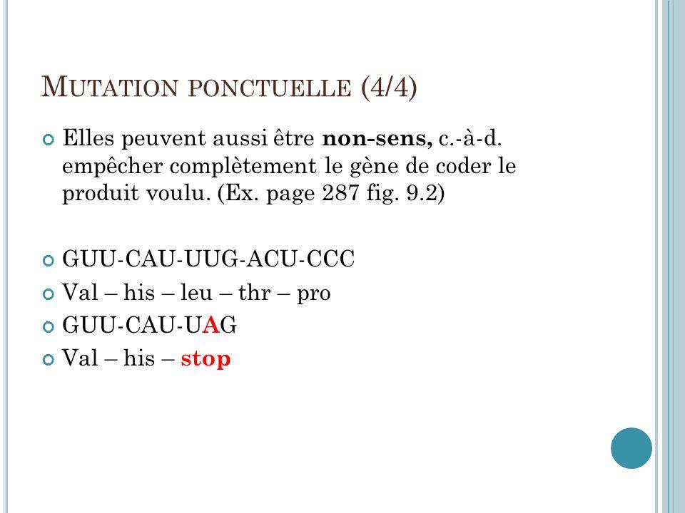 M UTATION PONCTUELLE (4/4) Elles peuvent aussi être non-sens, c.-à-d. empêcher complètement le gène de coder le produit voulu. (Ex. page 287 fig. 9.2)