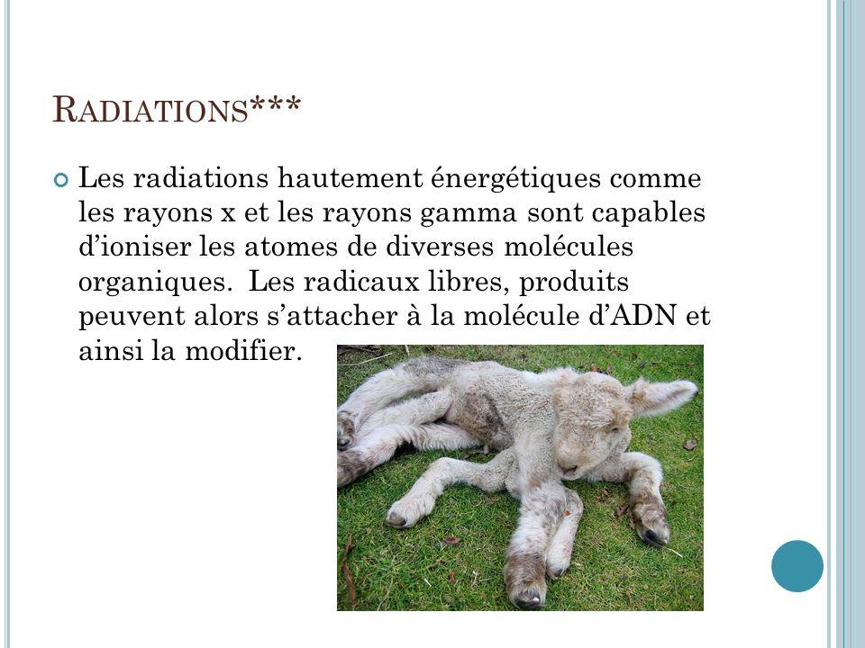 R ADIATIONS *** Les radiations hautement énergétiques comme les rayons x et les rayons gamma sont capables dioniser les atomes de diverses molécules o