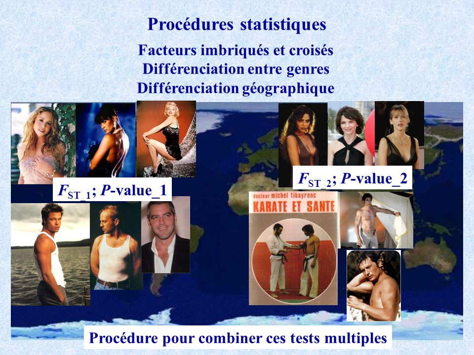 Procédures statistiques Facteurs imbriqués et croisés Différenciation entre genres Différenciation géographique F ST_1 ; P-value_1 F ST_2 ; P-value_2 Procédure pour combiner ces tests multiples