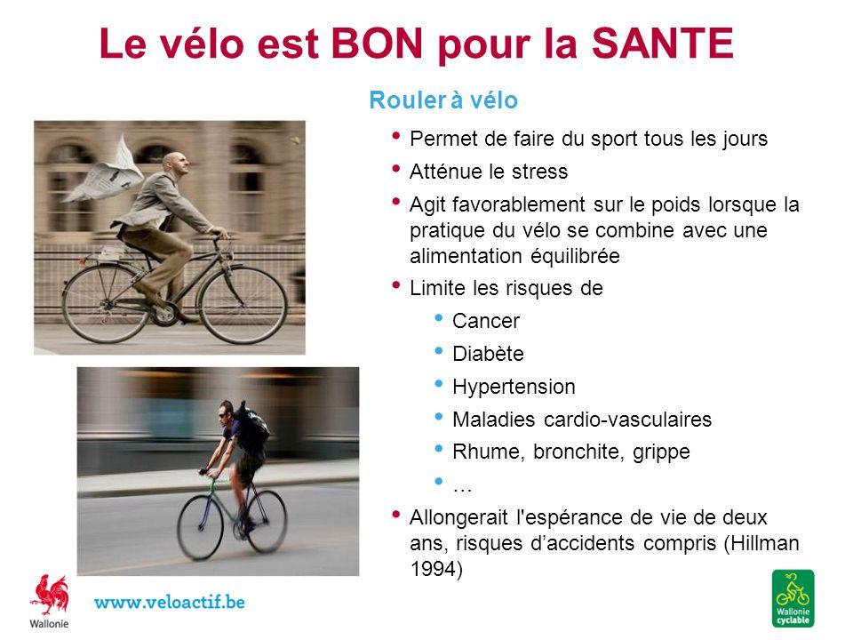 Le vélo est BON pour la SANTE Permet de faire du sport tous les jours Atténue le stress Agit favorablement sur le poids lorsque la pratique du vélo se