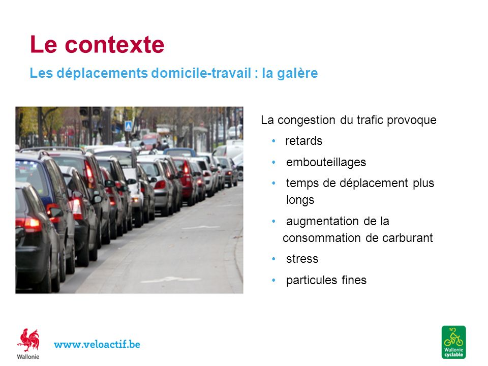 Le contexte La congestion du trafic provoque retards embouteillages temps de déplacement plus longs augmentation de la consommation de carburant stress particules fines Les déplacements domicile-travail : la galère