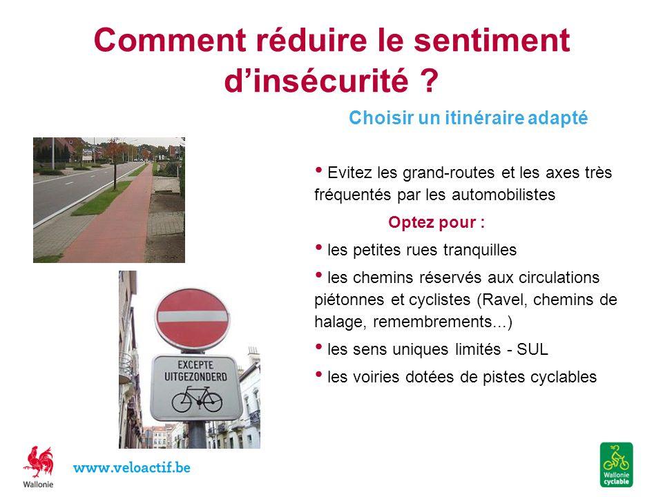 Comment réduire le sentiment dinsécurité ? Choisir un itinéraire adapté Evitez les grand-routes et les axes très fréquentés par les automobilistes Opt