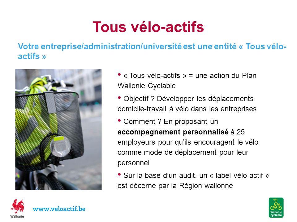 Tous vélo-actifs « Tous vélo-actifs » = une action du Plan Wallonie Cyclable Objectif ? Développer les déplacements domicile-travail à vélo dans les e