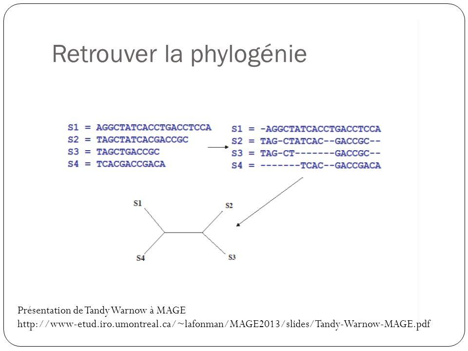 Retrouver la phylogénie Présentation de Tandy Warnow à MAGE http://www-etud.iro.umontreal.ca/~lafonman/MAGE2013/slides/Tandy-Warnow-MAGE.pdf