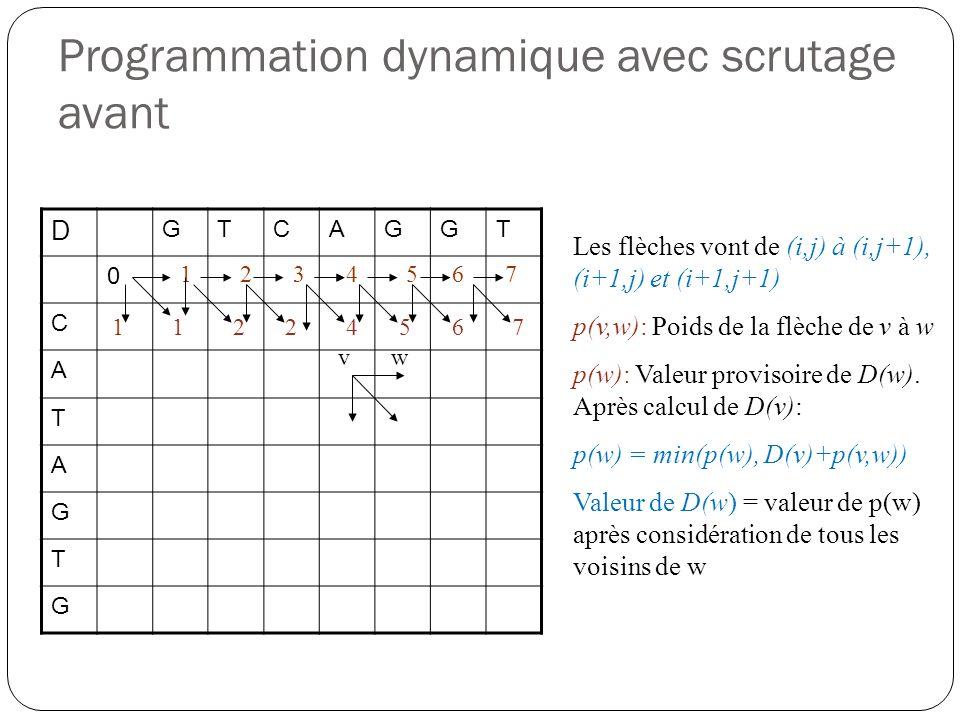 Programmation dynamique avec scrutage avant D GTCAGGT 0 C A T A G T G Les flèches vont de (i,j) à (i,j+1), (i+1,j) et (i+1,j+1) p(v,w): Poids de la fl