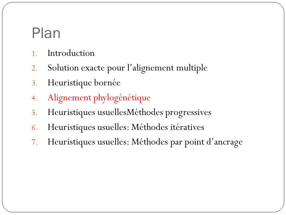 Plan 1. Introduction 2. Solution exacte pour lalignement multiple 3. Heuristique bornée 4. Alignement phylogénétique 5. Heuristiques usuellesMéthodes