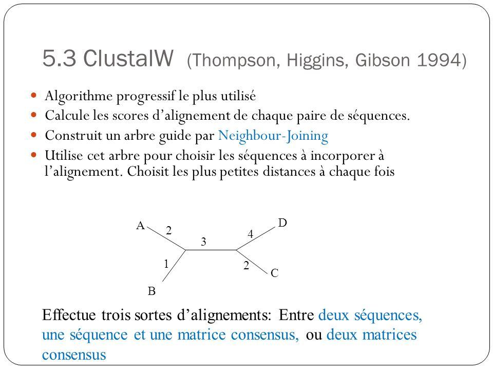 5.3 ClustalW (Thompson, Higgins, Gibson 1994) Algorithme progressif le plus utilisé Calcule les scores dalignement de chaque paire de séquences. Const