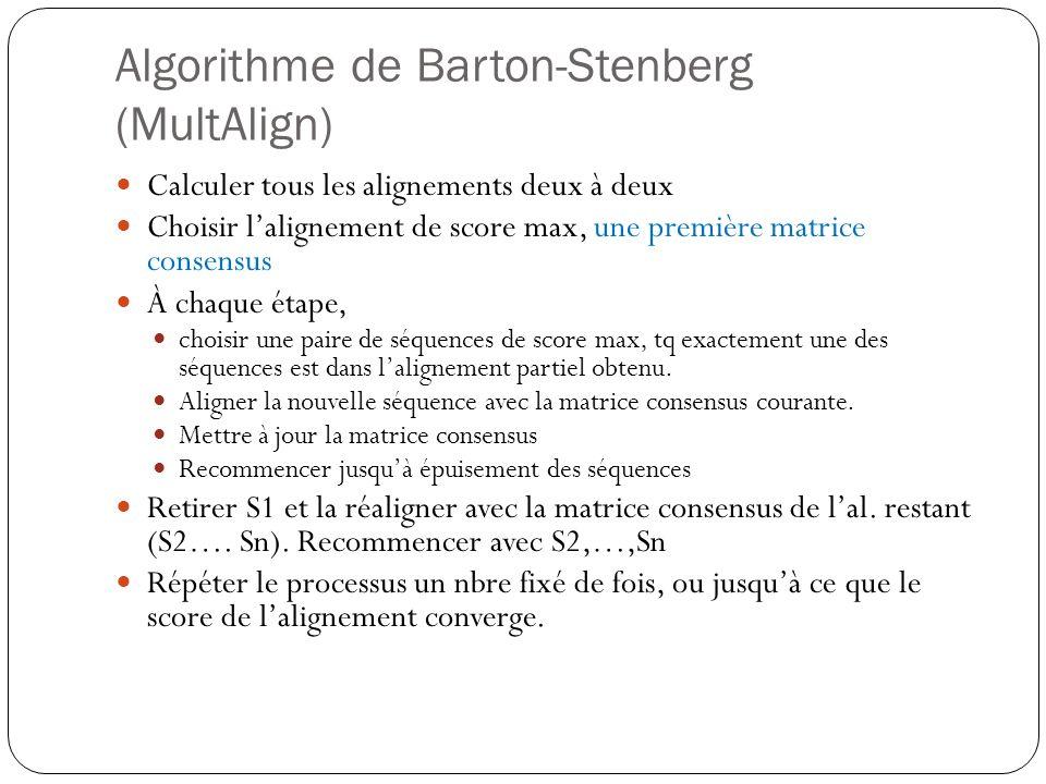 Algorithme de Barton-Stenberg (MultAlign) Calculer tous les alignements deux à deux Choisir lalignement de score max, une première matrice consensus À