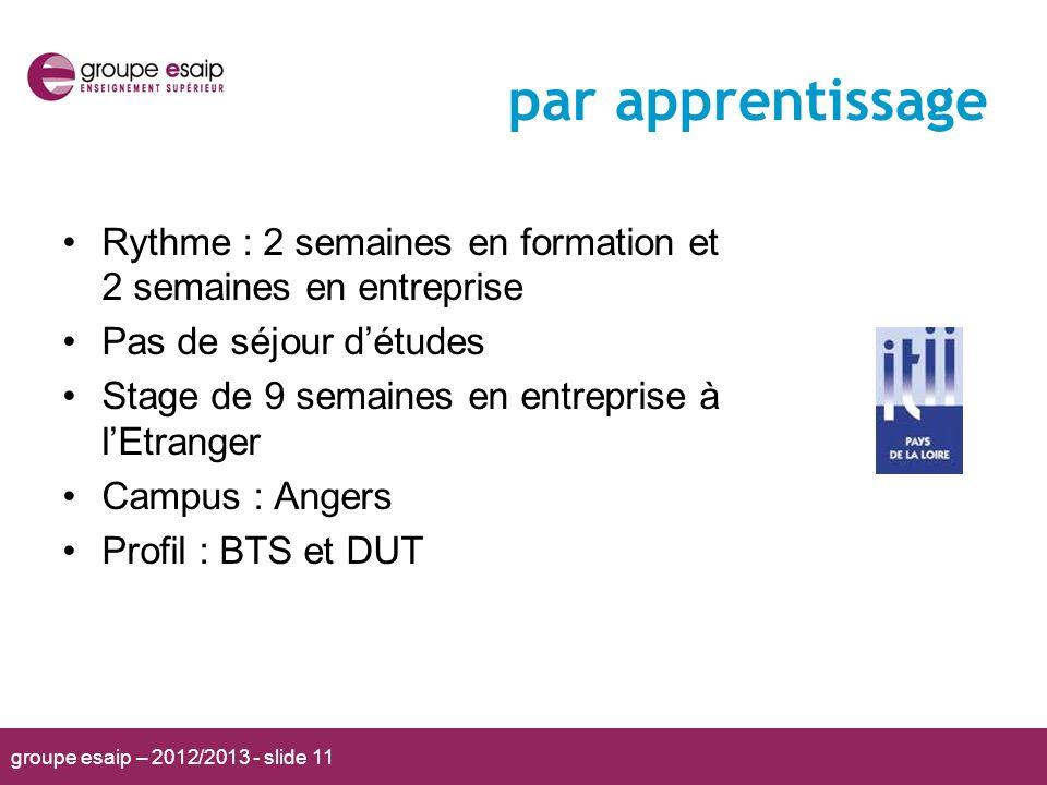 groupe esaip – 2012/2013 - slide 11 par apprentissage Rythme : 2 semaines en formation et 2 semaines en entreprise Pas de séjour détudes Stage de 9 se