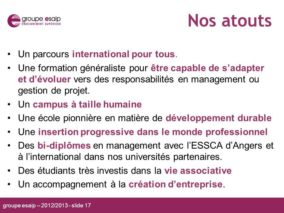 groupe esaip – 2012/2013 - slide 17 Nos atouts Un parcours international pour tous. Une formation généraliste pour être capable de sadapter et dévolue