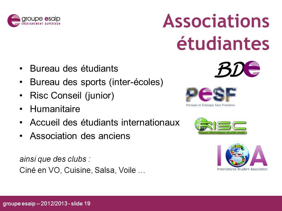 groupe esaip – 2012/2013 - slide 19 Associations étudiantes Bureau des étudiants Bureau des sports (inter-écoles) Risc Conseil (junior) Humanitaire Ac