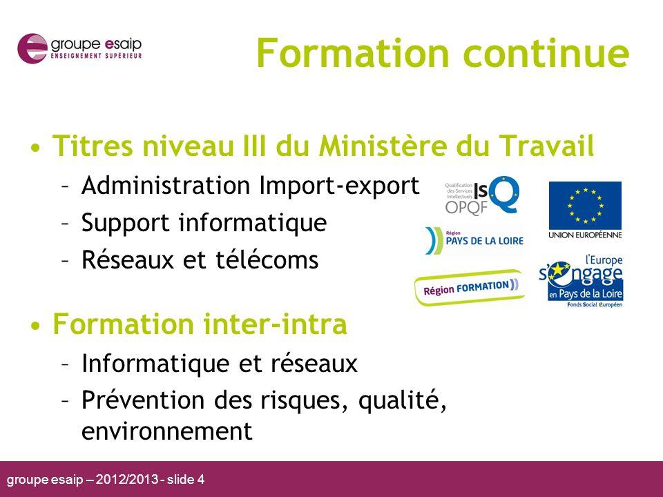 groupe esaip – 2012/2013 - slide 4 Formation continue Titres niveau III du Ministère du Travail –Administration Import-export –Support informatique –R