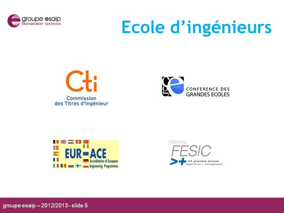 groupe esaip – 2012/2013 - slide 5 Ecole dingénieurs