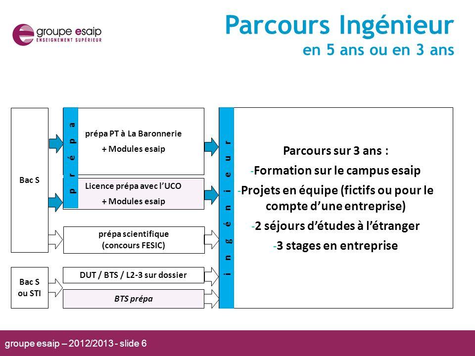 groupe esaip – 2012/2013 - slide 6 Parcours Ingénieur en 5 ans ou en 3 ans prépa PT à La Baronnerie + Modules esaip BTS prépa Licence prépa avec lUCO