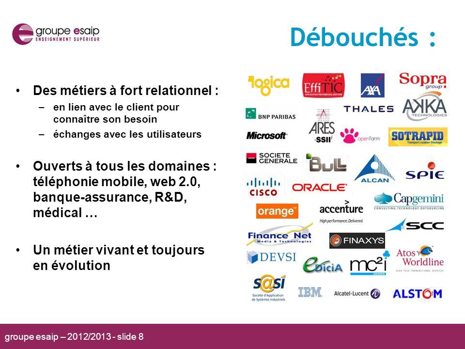 groupe esaip – 2012/2013 - slide 8 Des métiers à fort relationnel : –en lien avec le client pour connaître son besoin –échanges avec les utilisateurs