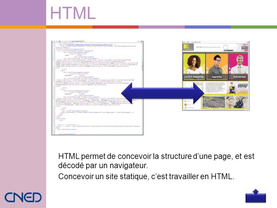 HTML HTML permet de concevoir la structure dune page, et est décodé par un navigateur. Concevoir un site statique, cest travailler en HTML.