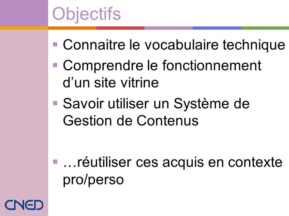 Objectifs Connaitre le vocabulaire technique Comprendre le fonctionnement dun site vitrine Savoir utiliser un Système de Gestion de Contenus …réutiliser ces acquis en contexte pro/perso