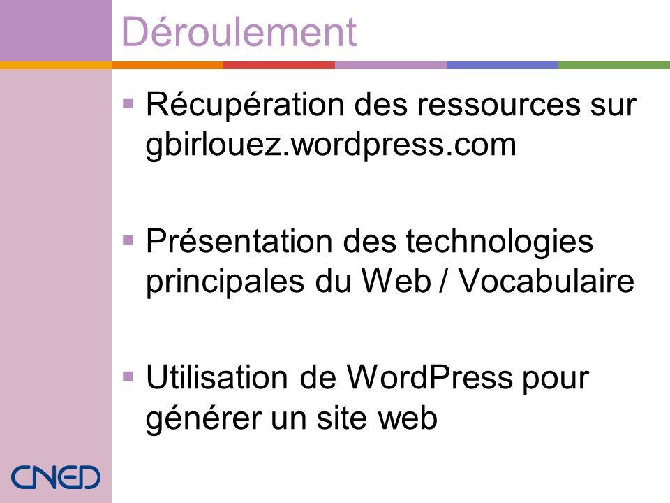 Déroulement Récupération des ressources sur gbirlouez.wordpress.com Présentation des technologies principales du Web / Vocabulaire Utilisation de Word