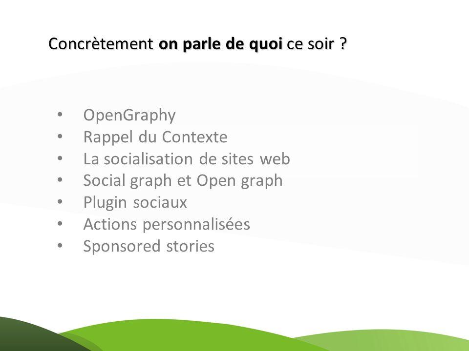 OpenGraphy Rappel du Contexte La socialisation de sites web Social graph et Open graph Plugin sociaux Actions personnalisées Sponsored stories Concrèt