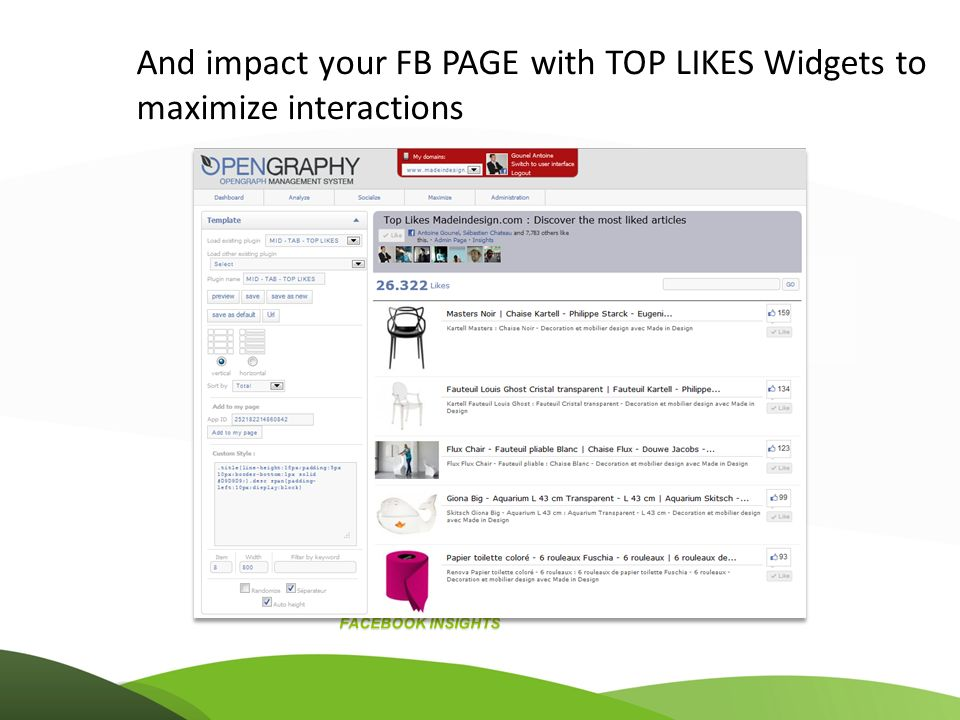 And impact your FB PAGE with TOP LIKES Widgets to maximize interactions