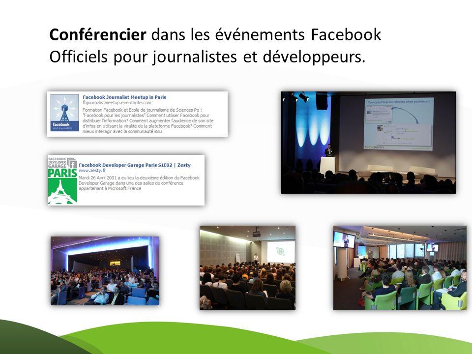 Conférencier dans les événements Facebook Officiels pour journalistes et développeurs.