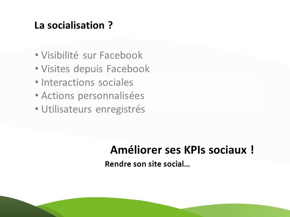 Visibilité sur Facebook Visites depuis Facebook Interactions sociales Actions personnalisées Utilisateurs enregistrés La socialisation ? Rendre son si