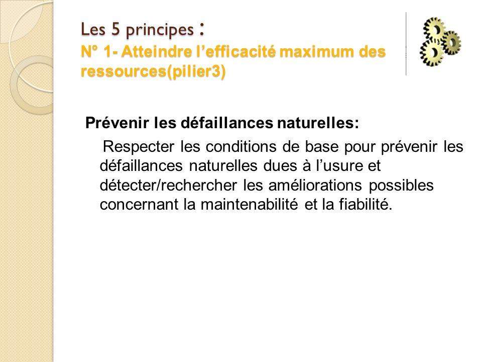 Les 5 principes : N° 1- Atteindre lefficacité maximum des ressources(pilier3) Prévenir les défaillances naturelles: Respecter les conditions de base pour prévenir les défaillances naturelles dues à lusure et détecter/rechercher les améliorations possibles concernant la maintenabilité et la fiabilité.