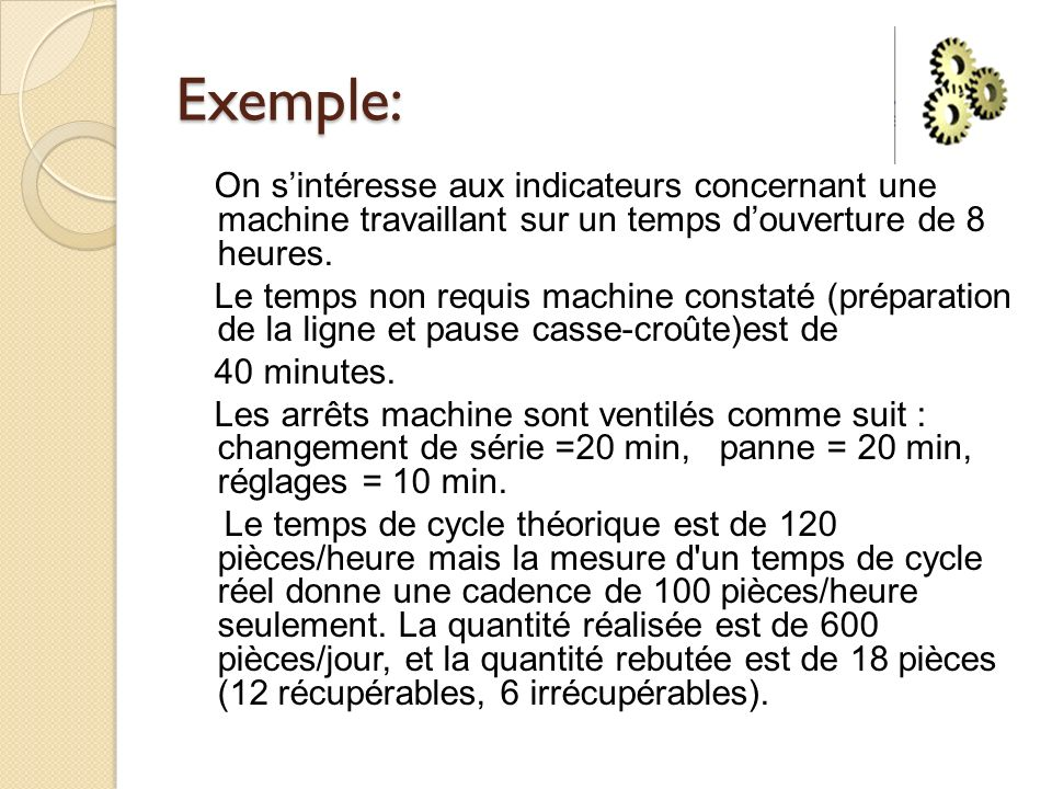 Exemple: On sintéresse aux indicateurs concernant une machine travaillant sur un temps douverture de 8 heures. Le temps non requis machine constaté (p