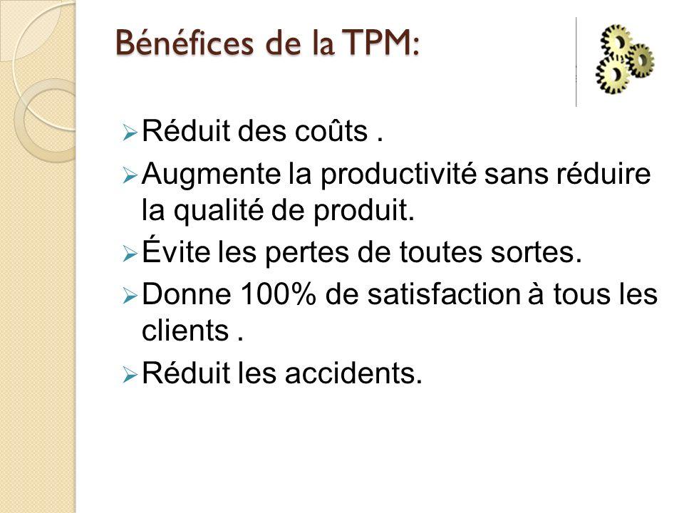 Bénéfices de la TPM: Réduit des coûts. Augmente la productivité sans réduire la qualité de produit. Évite les pertes de toutes sortes. Donne 100% de s
