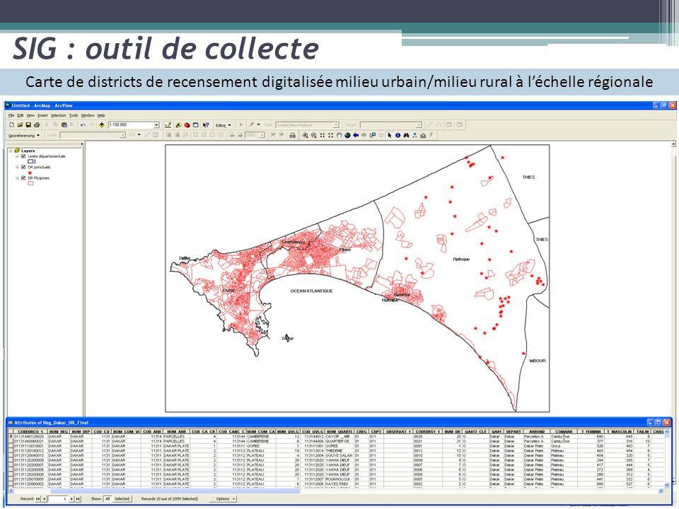 Carte de districts de recensement digitalisée milieu urbain/milieu rural à léchelle régionale SIG : outil de collecte