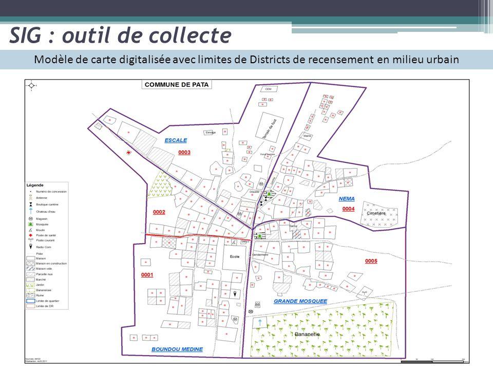 Modèle de carte digitalisée avec limites de Districts de recensement en milieu urbain SIG : outil de collecte