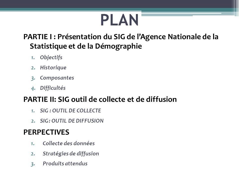 PLAN PARTIE I : Présentation du SIG de lAgence Nationale de la Statistique et de la Démographie 1.Objectifs 2.Historique 3.Composantes 4.Difficultés P