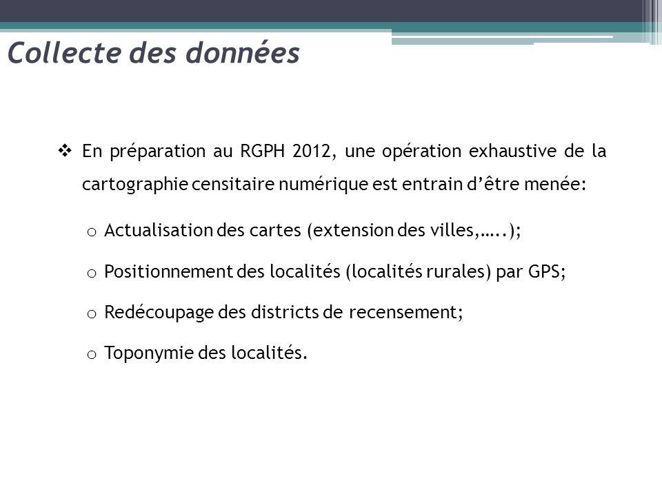 En préparation au RGPH 2012, une opération exhaustive de la cartographie censitaire numérique est entrain dêtre menée: o Actualisation des cartes (ext