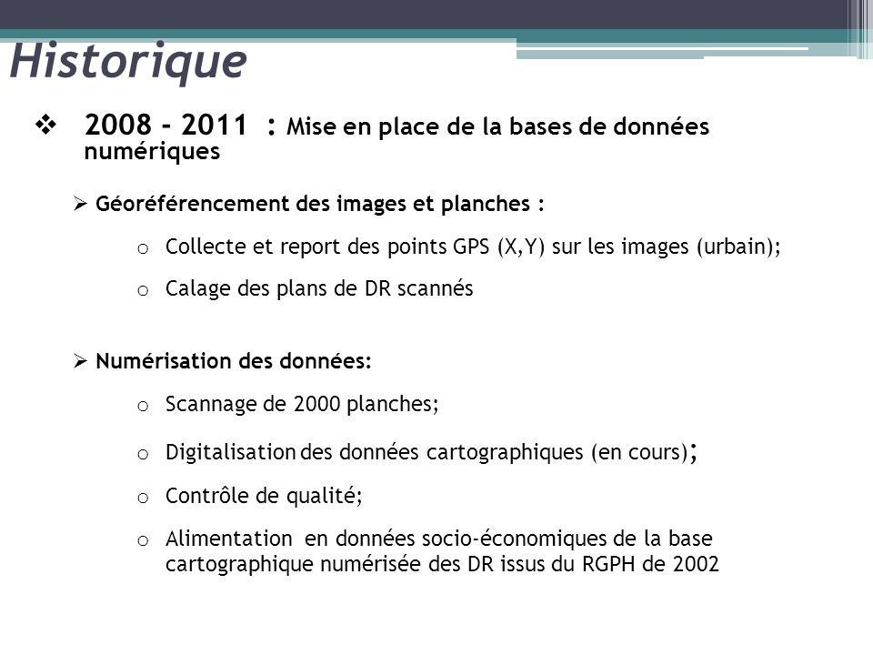 Historique 2008 - 2011 : Mise en place de la bases de données numériques Géoréférencement des images et planches : o Collecte et report des points GPS