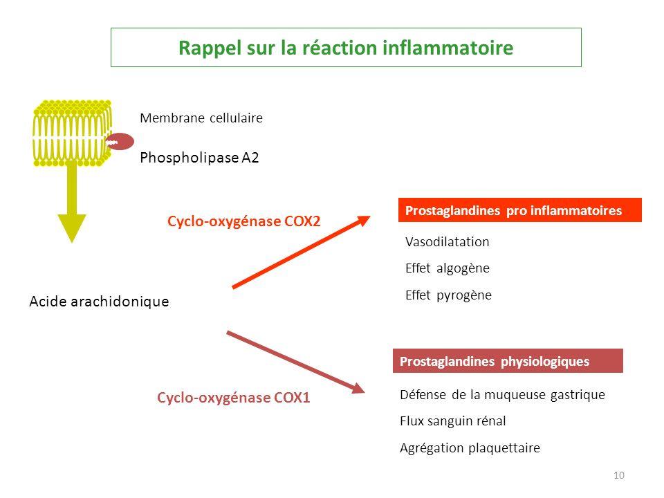 Rappel sur la réaction inflammatoire Acide arachidonique Cyclo-oxygénase COX1 Prostaglandines physiologiques Défense de la muqueuse gastrique Flux san