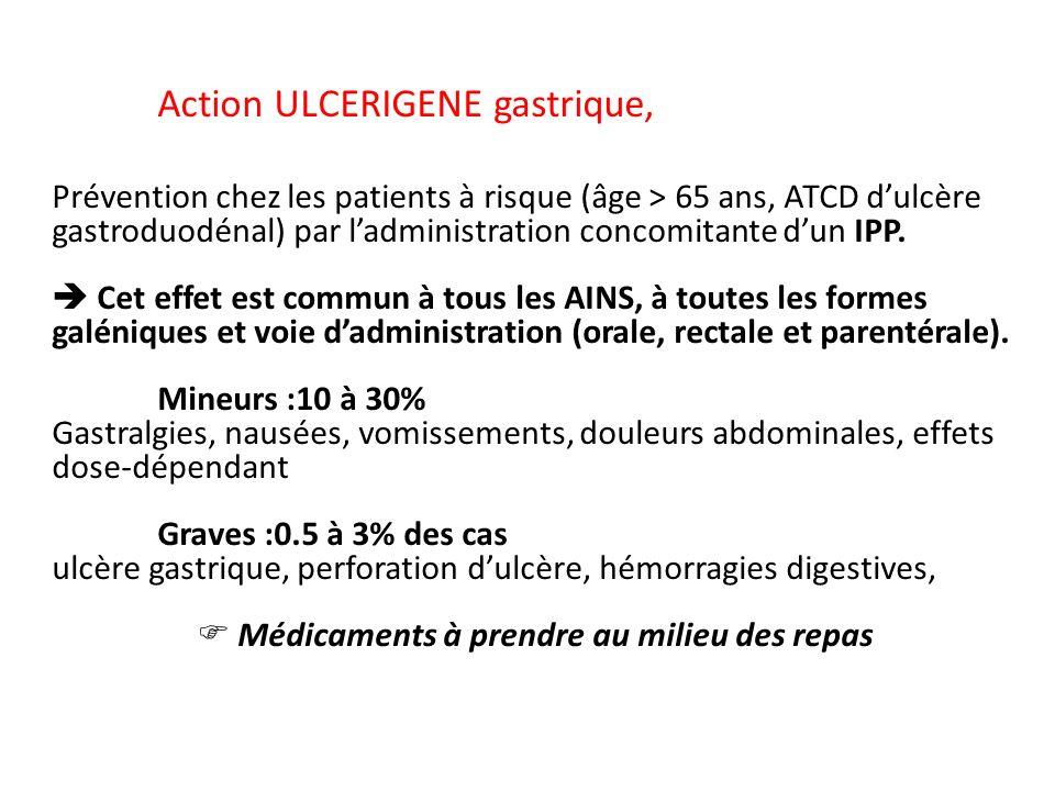 Action ULCERIGENE gastrique, Prévention chez les patients à risque (âge > 65 ans, ATCD dulcère gastroduodénal) par ladministration concomitante dun IP