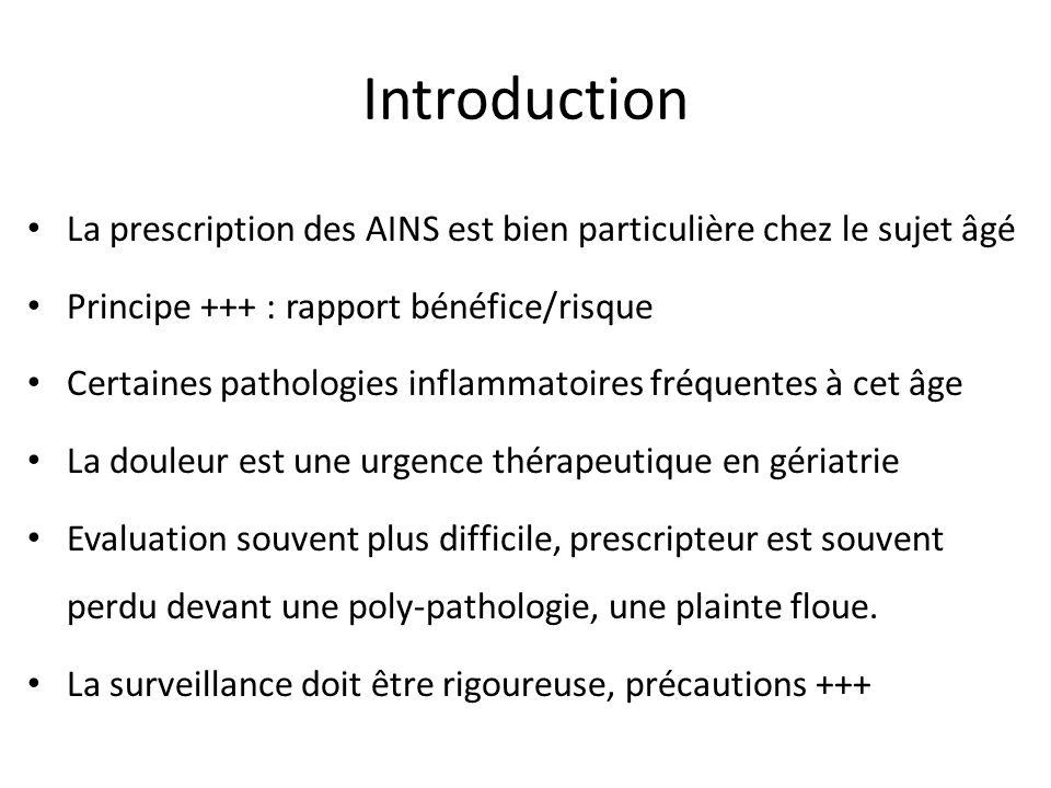 Introduction La prescription des AINS est bien particulière chez le sujet âgé Principe +++ : rapport bénéfice/risque Certaines pathologies inflammatoi