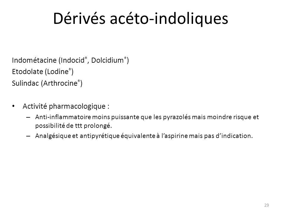 Dérivés acéto-indoliques Indométacine (Indocid ®, Dolcidium ® ) Etodolate (Lodine ® ) Sulindac (Arthrocine ® ) Activité pharmacologique : – Anti-infla