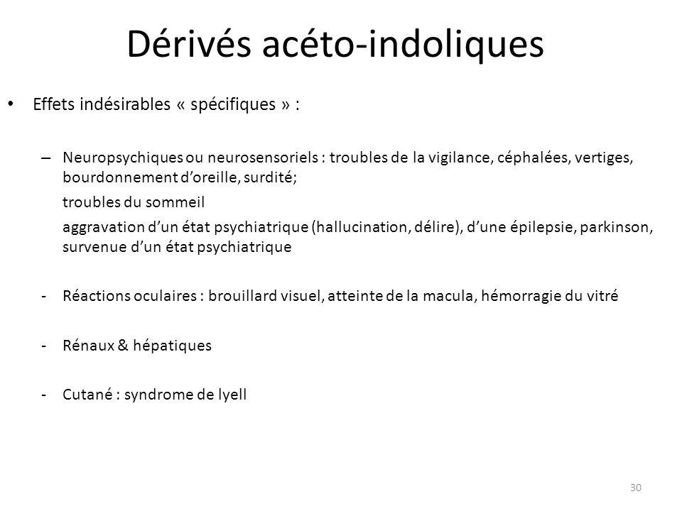 Dérivés acéto-indoliques Effets indésirables « spécifiques » : – Neuropsychiques ou neurosensoriels : troubles de la vigilance, céphalées, vertiges, b