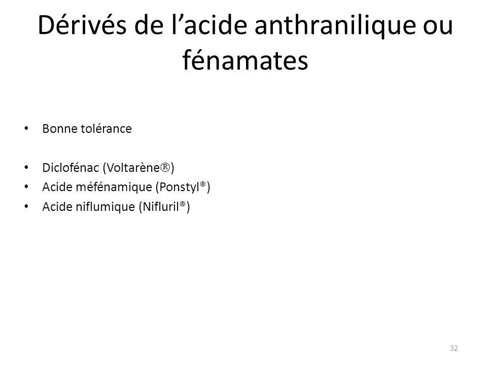 Dérivés de lacide anthranilique ou fénamates Bonne tolérance Diclofénac (Voltarène ) Acide méfénamique (Ponstyl®) Acide niflumique (Nifluril®) 32