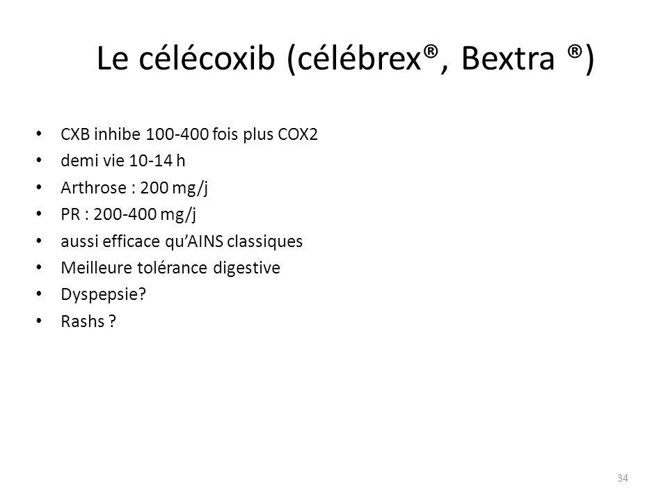 Le célécoxib (célébrex®, Bextra ®) CXB inhibe 100-400 fois plus COX2 demi vie 10-14 h Arthrose : 200 mg/j PR : 200-400 mg/j aussi efficace quAINS clas