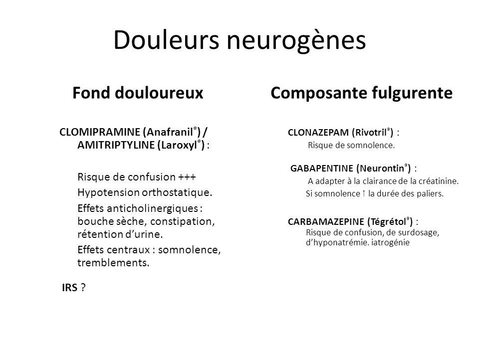 Douleurs neurogènes CLOMIPRAMINE (Anafranil ® ) / AMITRIPTYLINE (Laroxyl ® ) : Risque de confusion +++ Hypotension orthostatique. Effets anticholinerg