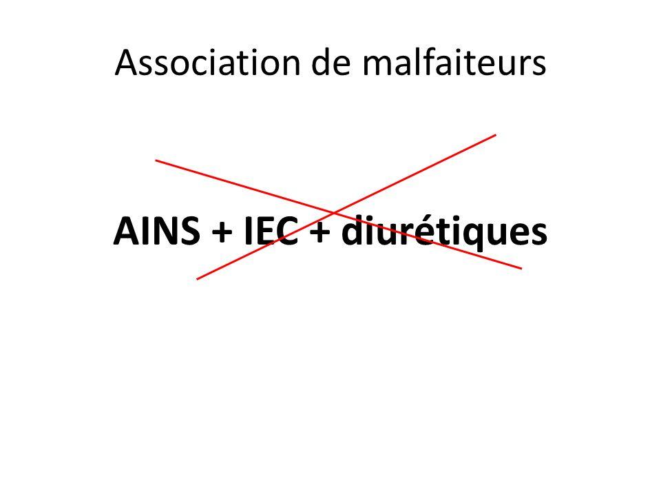 Association de malfaiteurs AINS + IEC + diurétiques