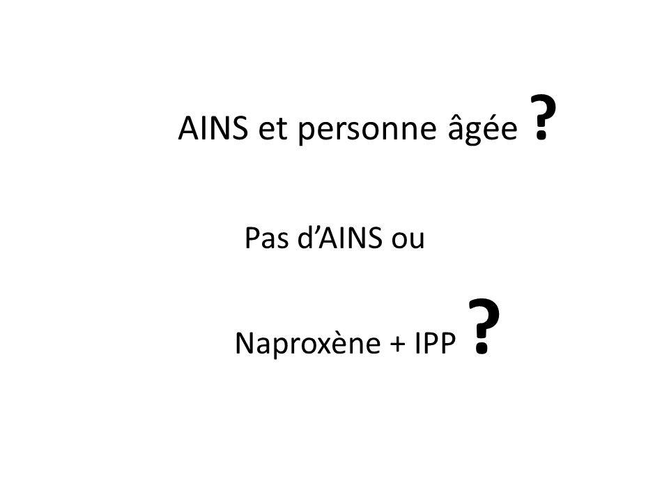AINS et personne âgée ? Pas dAINS ou Naproxène + IPP ?