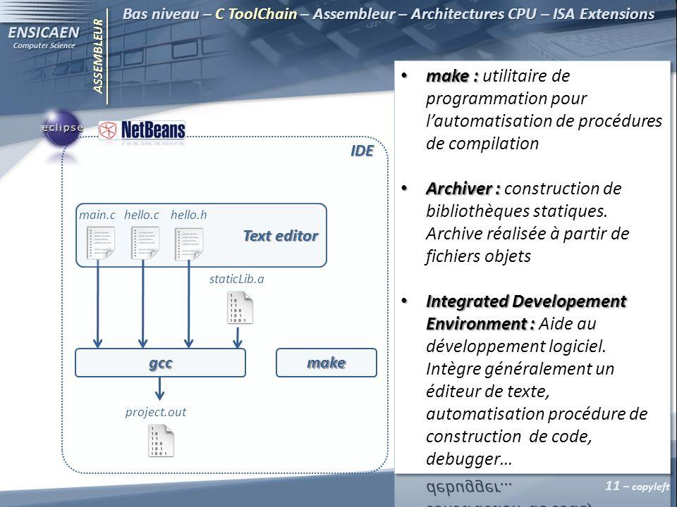 ASSEMBLEUR Bas niveau – C ToolChain – Assembleur – Architectures CPU – ISA Extensions 11 – copyleft gcc IDE staticLib.a project.out make main.chello.chello.h Text editor