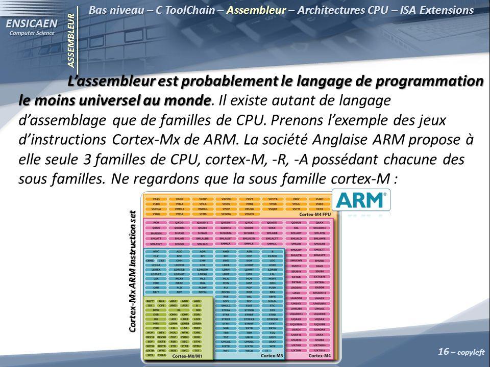 ASSEMBLEUR Bas niveau – C ToolChain – Assembleur – Architectures CPU – ISA Extensions Lassembleur est probablement le langage de programmation le moins universel au monde Lassembleur est probablement le langage de programmation le moins universel au monde.
