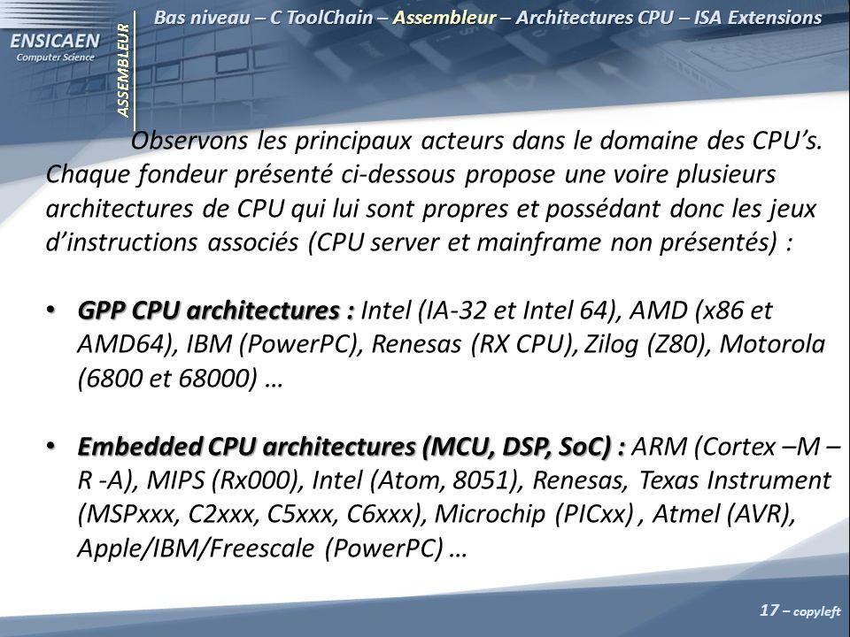 ASSEMBLEUR Bas niveau – C ToolChain – Assembleur – Architectures CPU – ISA Extensions Observons les principaux acteurs dans le domaine des CPUs.