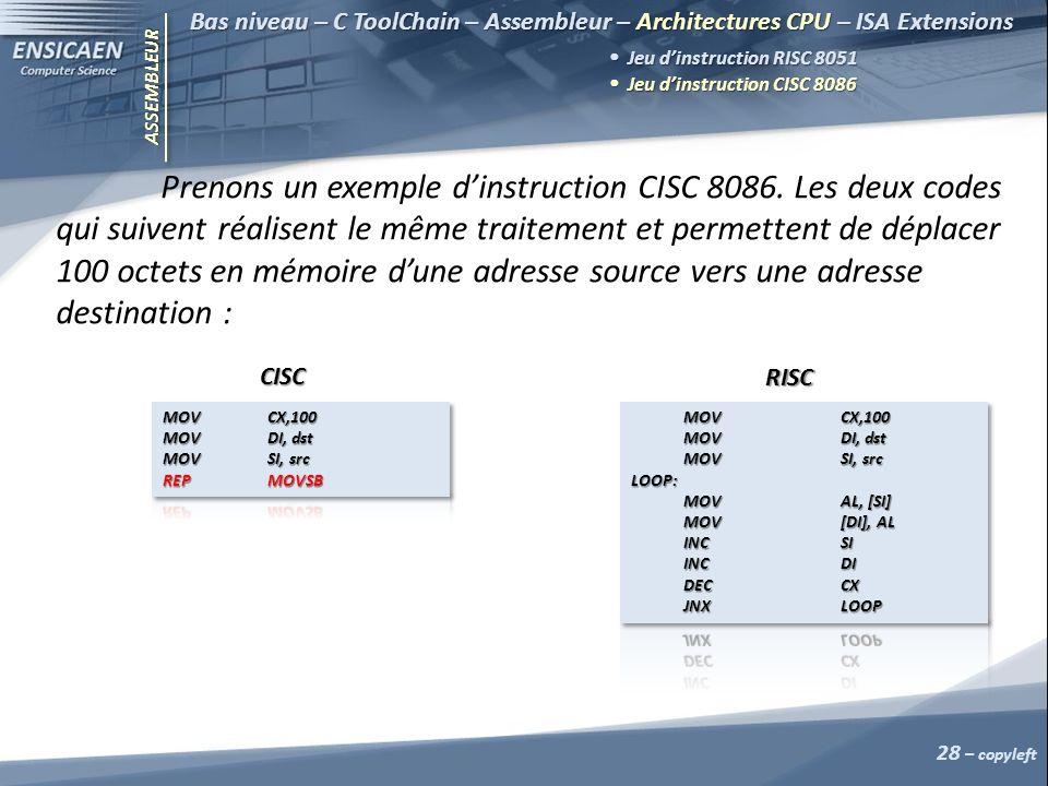 ASSEMBLEUR 28 – copyleft Bas niveau – C ToolChain – Assembleur – Architectures CPU – ISA Extensions Jeu dinstruction RISC 8051 Jeu dinstruction RISC 8051 Jeu dinstruction CISC 8086 Jeu dinstruction CISC 8086 Prenons un exemple dinstruction CISC 8086.