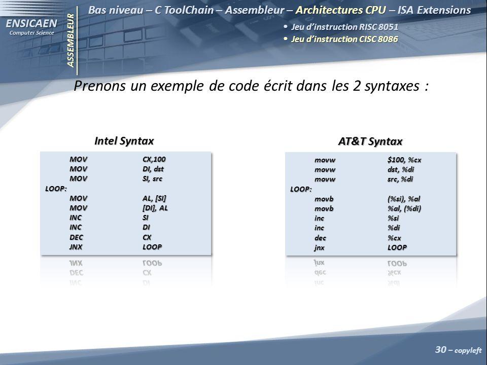 ASSEMBLEUR 30 – copyleft Bas niveau – C ToolChain – Assembleur – Architectures CPU – ISA Extensions Jeu dinstruction RISC 8051 Jeu dinstruction RISC 8051 Jeu dinstruction CISC 8086 Jeu dinstruction CISC 8086 Prenons un exemple de code écrit dans les 2 syntaxes : Intel Syntax AT&T Syntax